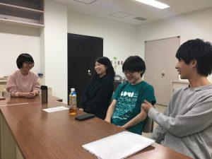 左から、金子愛里、前田芽衣子、片渕高史、青木裕基