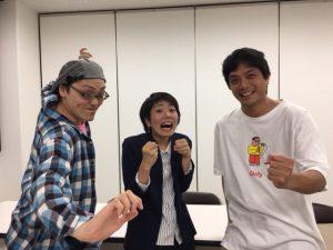 左から、渡辺明男(バカボンド座)、本坊由華子(世界劇団)、森川松洋(バカボンド座)